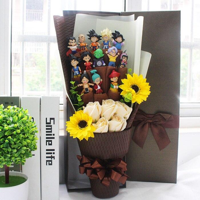 Dragon Ball Goku Piccolo Gohan Chichi Master Oolong Dragon Ball Z Action Toy Bouquet With Box Graduation Birthday Child Gift