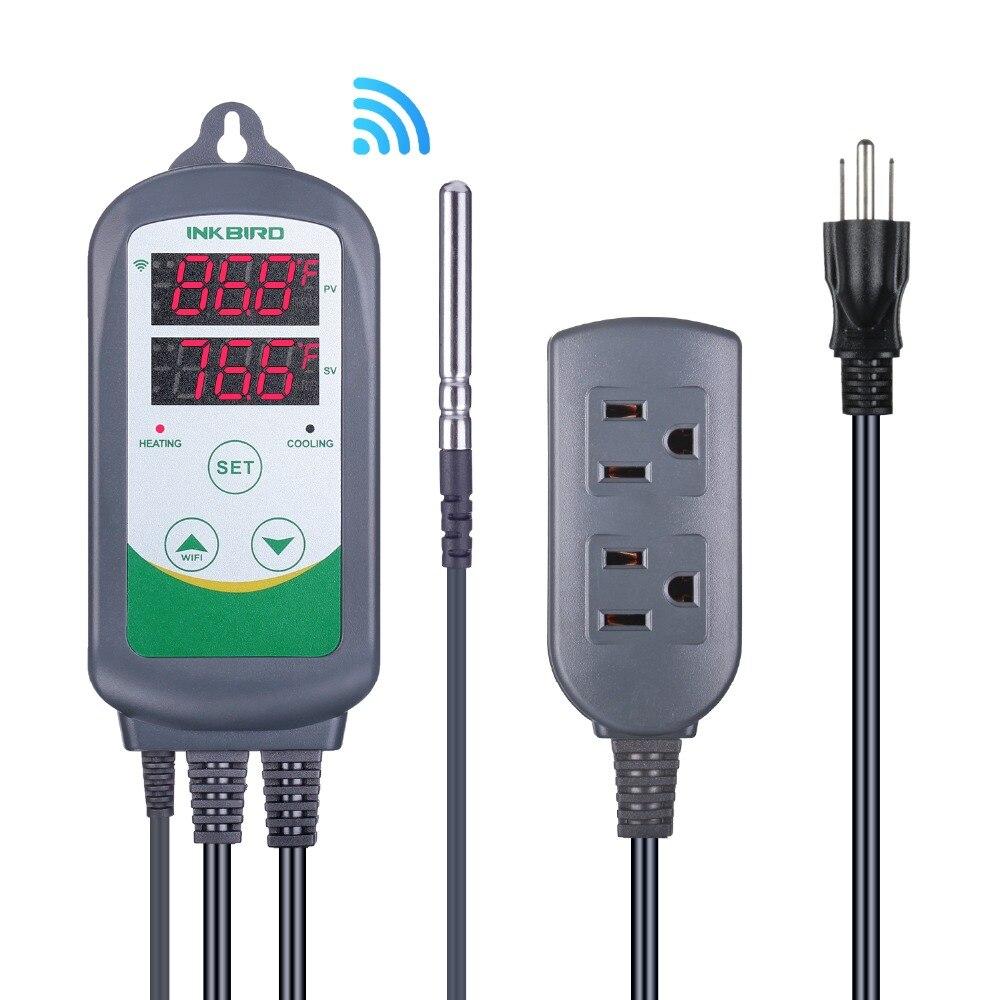 Inkbird ITC-308 EUA Plug Dual WI-FI Relés Controlador Digital De Temperatura de Garrafão, Fermentador, Com Efeito de Estufa Terrário Temp. Controle