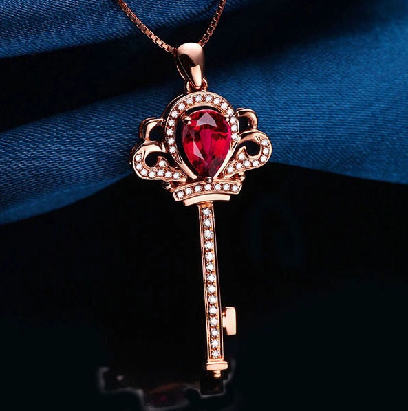 Pear 5x7mm Solid 14Kt Rose Gold Diamond Ruby Pendant,Key Shape Ruby Pendant For Sale