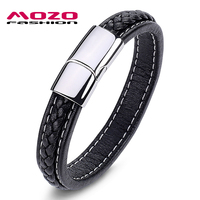 Wholesale 2014 Fashion Jewelry Punk Retro Stainless Steel Black Genuine Leather Personality Men Bracelet Male Bangles