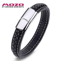 Wholesale 2014 Fashion Jewelry Punk Retro Stainless Steel Black Genuine Leather Personality Men Bracelet Male Bangles