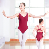 High Quality Lycra Double Spaghetti Straps Leotards Mid Back Ballet Dancewear Sexy V Neck Sleeveless Ballet