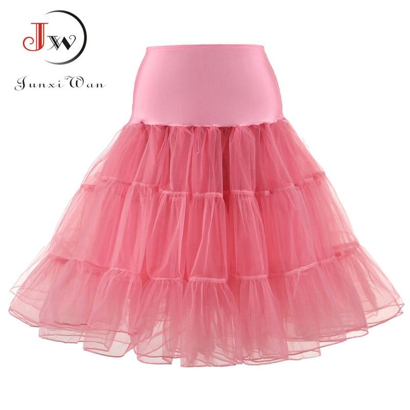 Tulle Skirts Womens Fashion High Waist Pleated Tutu Skirt Retro Vintage Petticoat Crinoline Underskirt Faldas Women Skirt Saia
