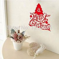 Joyeux Arbre De Noël Mignon Coloré PVC Amovible art mot de Stickers muraux Vente Chaude Stickers Muraux Pour La Décoration Intérieure 2017 mode