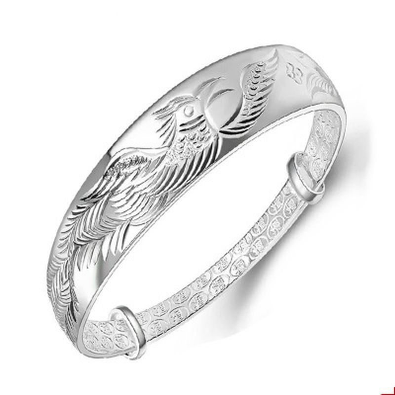 Ethnic Fashion Elegant Woman Child Gift Phoenix Push Pull 999 Sterling Rhod Bangle Adjustable women jade bracelet jade lotus