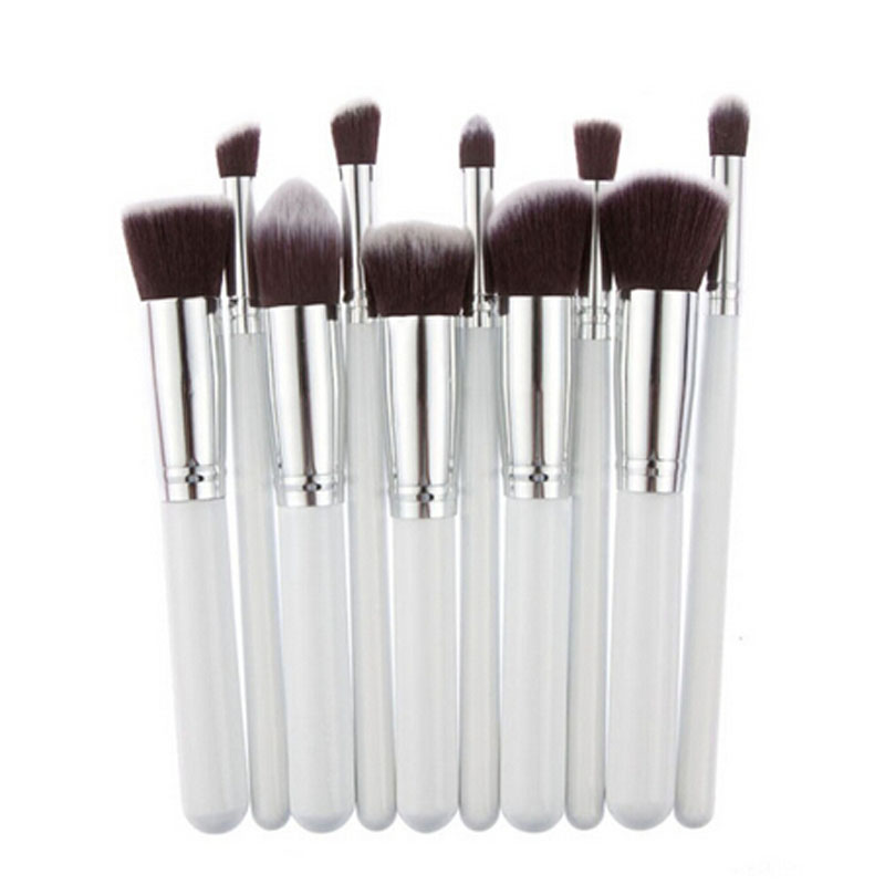 Gujhui High Quality 10pcs/set Pro Makeup Brush Set Powder Foundation Eyeshadow Blush Brushes Tool Kit White Hottest Eye Shadow Applicator Makeup Tools & Accessories