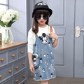 Girls Clothing Sets Cartoon T-Shirt Denim Skirt Infant Vestidos Clothes Set Blouse Shirt+Suspender Skirt Overalls Suit Set Mouse