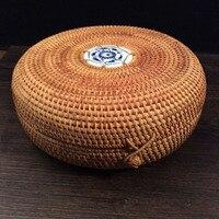 Azja południowo-wschodnia Rattan schowek z pokrywą okrągłe ręcznie tkane herbata puerh tea box cyny rozmaitości organizator pojemnik żywności rocznika prezent