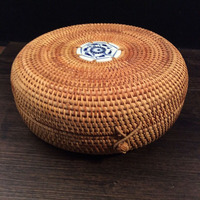 Southeast Asia Rattan Storage Box With Lid Round Hand Woven Tea Container Food Sundries Organizer Puerh