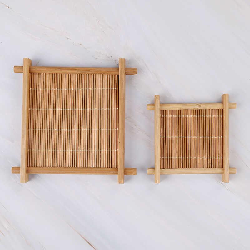 1 PC Panas Isolasi Piring Bambu Teh Cangkir Mat Nampan Coaster Aksesoris Dapur Tatakan Cangkir Pemegang Dish Pot Bantalan 7X7 Cm/12X12 Cm