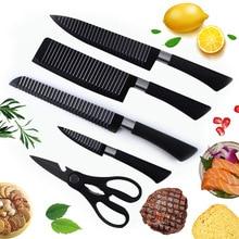 6 PCS sets Schwarz griff Qualität sharp Edelstahl Küche Knive Sets Obst Gemüse Brot Fleisch Messer schere