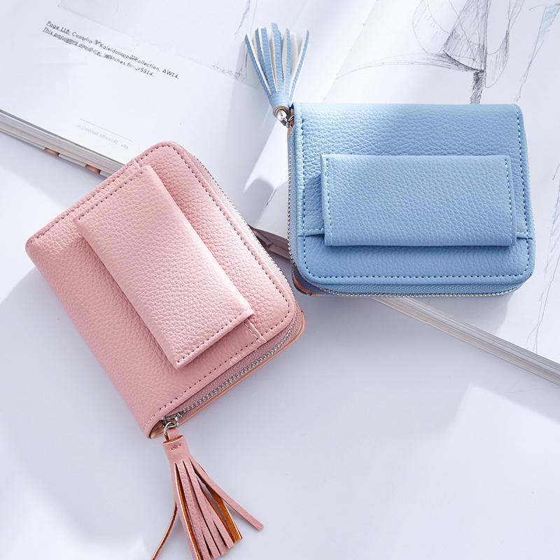 Hot Sale  PU Leather Women Wallets Girls Tassel Solid Color Litchi Pattern  Short Purse Small Cute Credit Card Holder For Girls