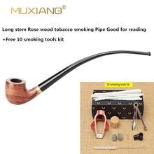 MUXIANG Churchwarden Tallo largo kevazingo pipa de madera para fumar, filtro de 3mm, pipa de tabaco de madera, boquilla acrílica ad0008