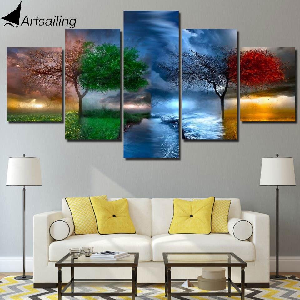 HD gedruckt 5 stück leinwand kunst 4 jahreszeiten ändern tree ...