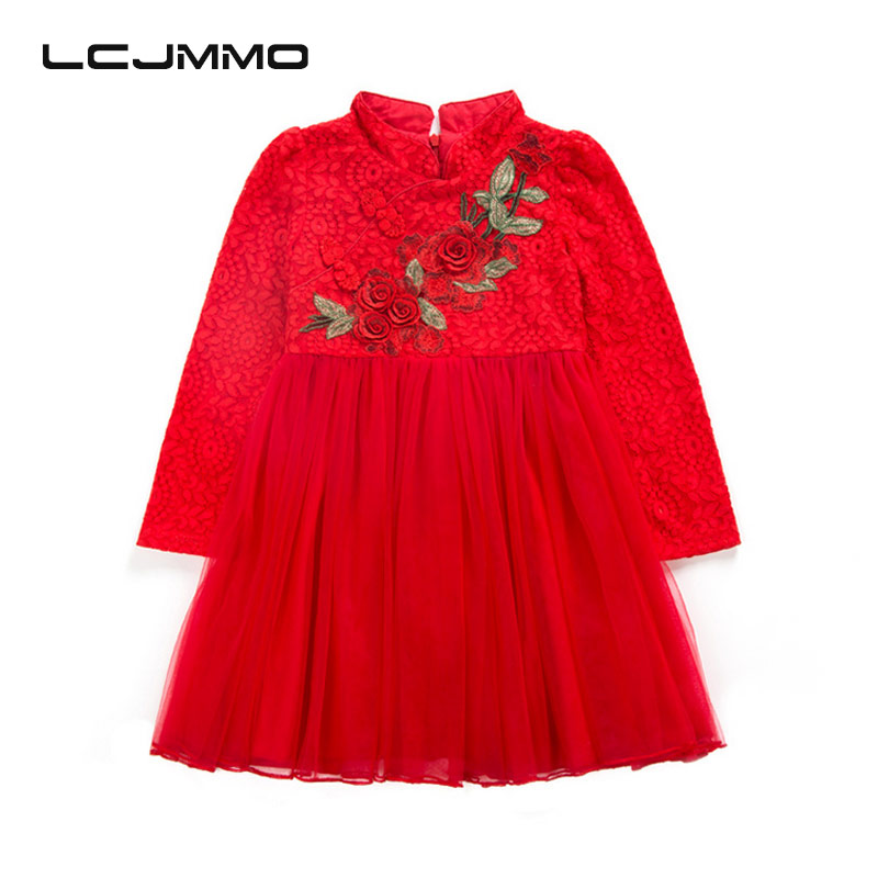 LCJMMO Flower Princess Girl Dresses for Wedding and Party 2017 Embroidery Kids Performance TUTU Dress For Girls Clothes 4-12Year summer princess wedding bridesmaid flower girl dress for child wear kids clothes white party tutu dresses for girl 3 12y