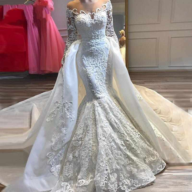 New Gorgeous Mermaid Wedding Dresses Detachable Train Long Sleeve Hig Neck Lace Bride Gowns