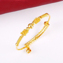 MxGxFam Beads Bell Bangles and Bracelets For Baby Girls Boys (adjusted) Fashion Jewelry 24 K Pure Gold Color cheap Copper Alloy ROUND Metal Gold-color Ba-0101 TRENDY None Lead Nickel Free 24k Glod Plated 24k Gold Color 6 7 g Guangdong China (Mainland)