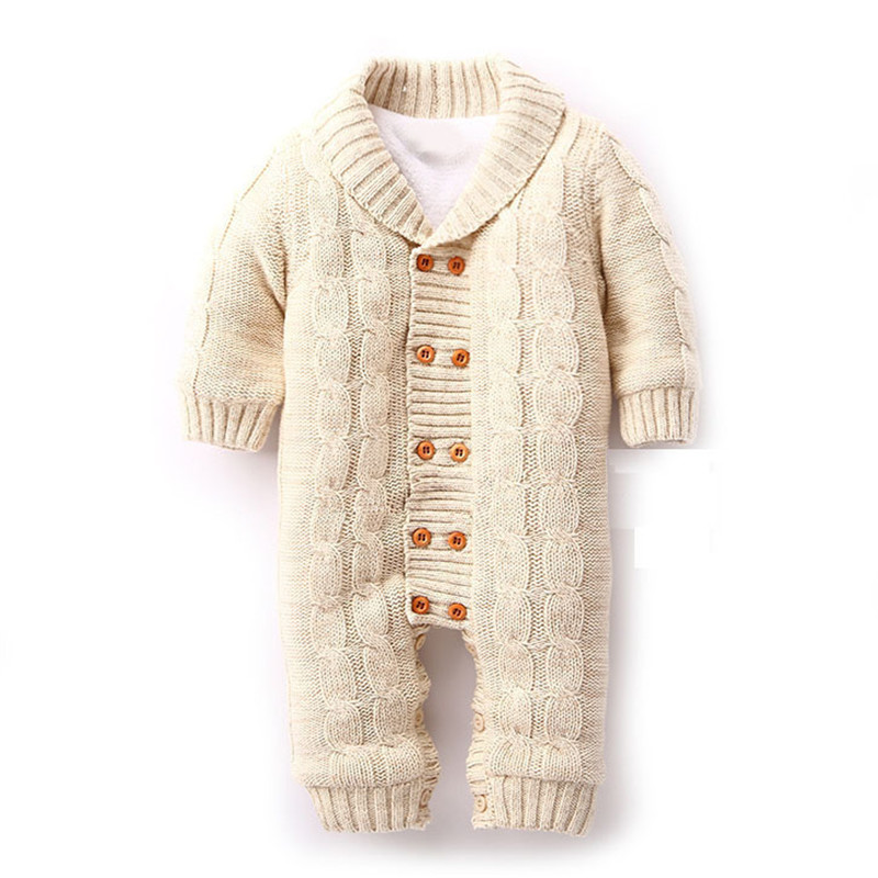 2016 Newborn Baby Rompers Warm Thick Winter Knitted Sweater Rompers Newborn Boys Girls Jumpsuit Climbing Clothes Hooded Outwear christmas deer baby rompers duck down winter overalls thick warm jumpsuit 2017 newborn clothes infant boys girls outwear