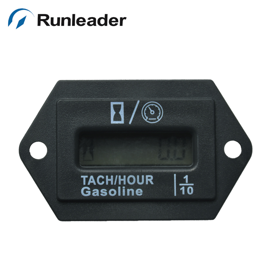 Digital LCD inductive industrial backlight Hour meter Tachometer For snowmobile generator tractor paramotor jet boat marine