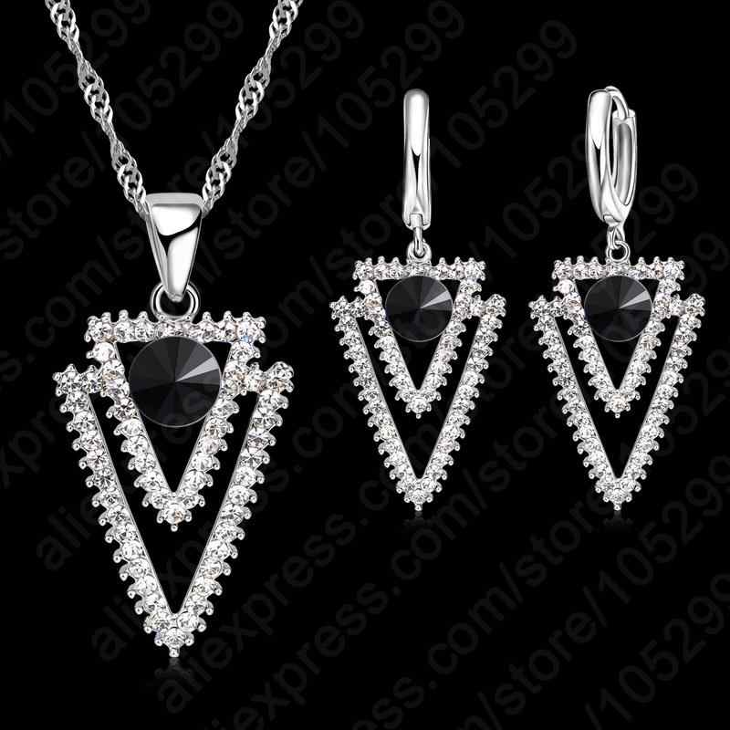 New CZ Crystal 925 Sterling Silver  Triangle Geometry Black Pendant Necklace Wedding Jewelry For Women Gift Set Free Shipping