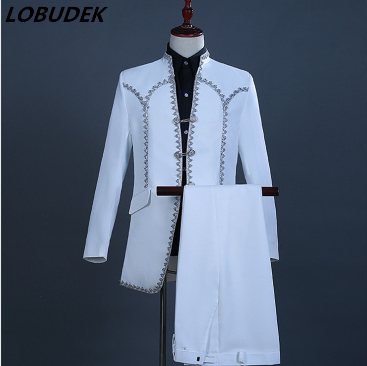 England Style Court Clothing Men's Suits White Blazers Pants Singer Chorus Costume Wedding Groom Suit Host Stage Show Clothes