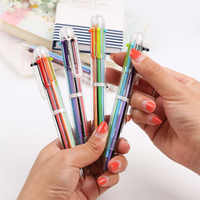 DIY Creative New Writing Colorful Multi Color Ballpoint Pens Cute 6in1 Colors Office School Stationery Promotion Gift 1PC
