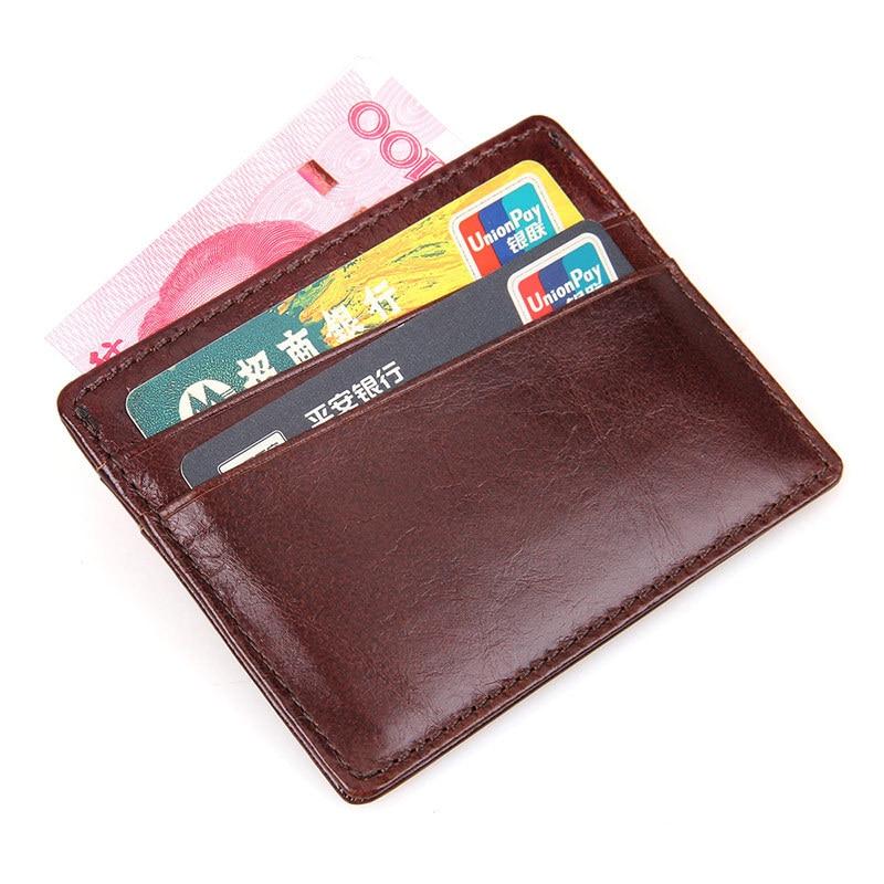 Rfid Blocking Slim ID-kaart Portemonnee voor mannen Roodbruin Crazy - Portemonnees en portefeuilles