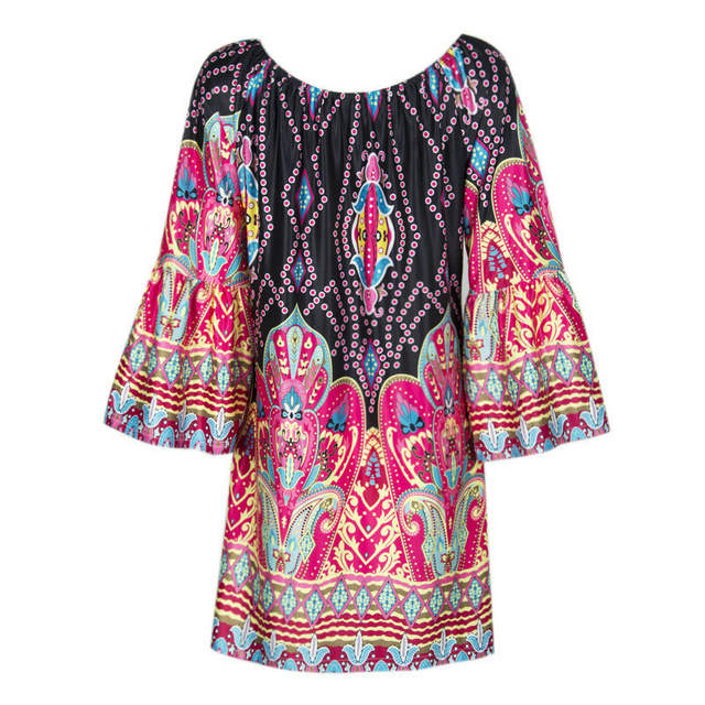 170306f2683 plus size Summer Boho Beach tunic dress women 2018 Off Shoulder runway  Floral Vintage Ladies Clothing