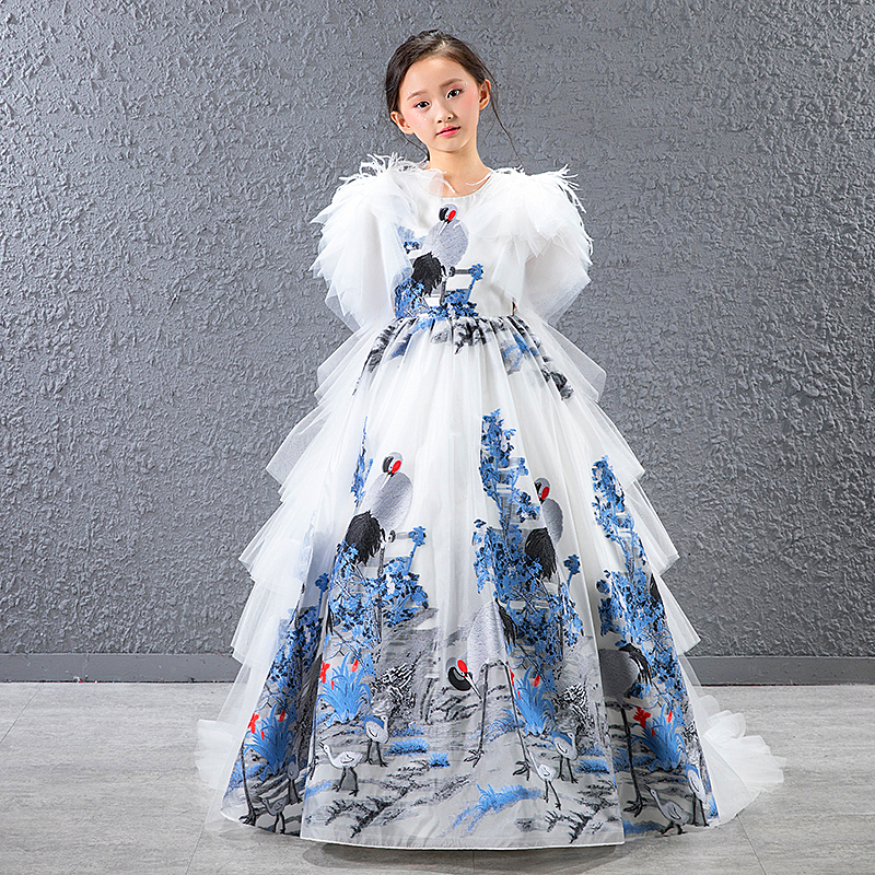 Girl Dress Feather lace Wedding Party Dress Princess Dresses Clothes Size 4-14Y Vestito da ragazza Robe fille Madchen Kleid