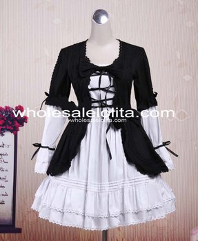 Cute Black and White Cotton Gothic Lolita Dress Lolita Channel  Ball Gown 6XL For Sale Tea Party Dresses