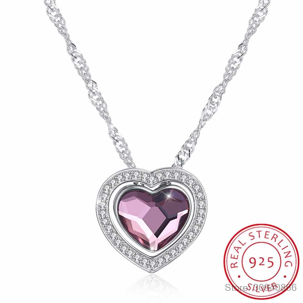 LEKANI Crystals From SWAROVSKI Heart Pendant Necklaces Real S925 Silver Fine Jewelry For Women Multiple Different Wearing Styles
