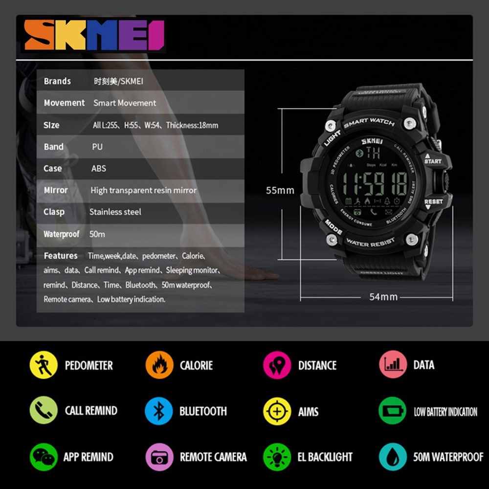 SKMEI Mænd Watch Pedometer Kalorier Smart Watch Fashion Outdoor - Mænds ure - Foto 6