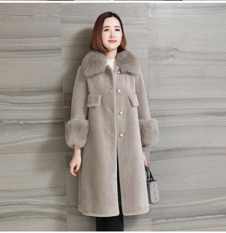 women natural sheep fur coat with real fox fur collar (11)