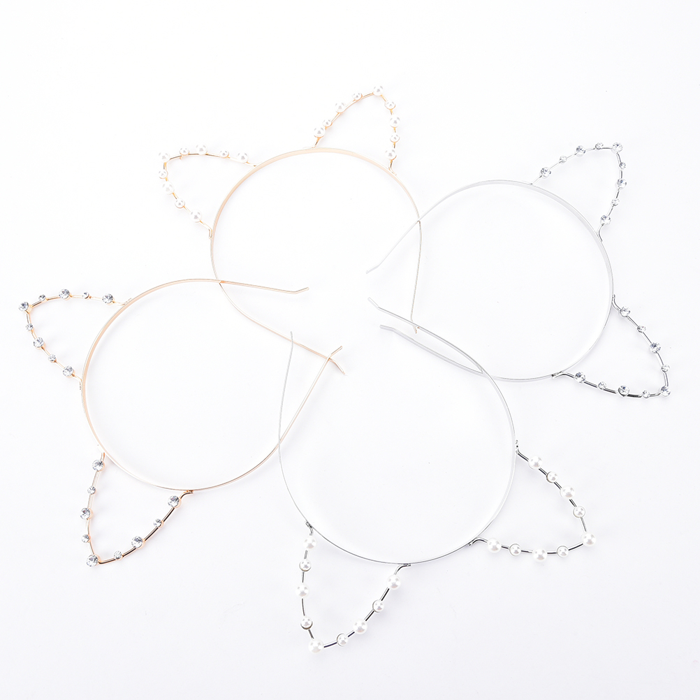 1pc Pearl Headdress For Women Party Gift Cat's Ears Headbands Imitation Pearl Cat Ears Headbands Hair Hoop Accessories