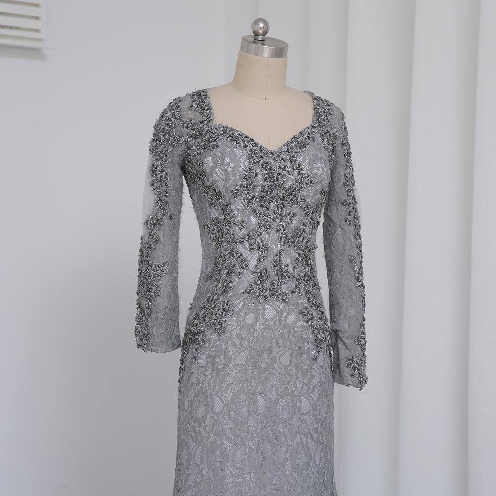 Plius dydis Pilka 2019 Mergelės suknelė Mermaid V-kaklo ilgomis - Suknelės vestuvėms - Nuotrauka 6