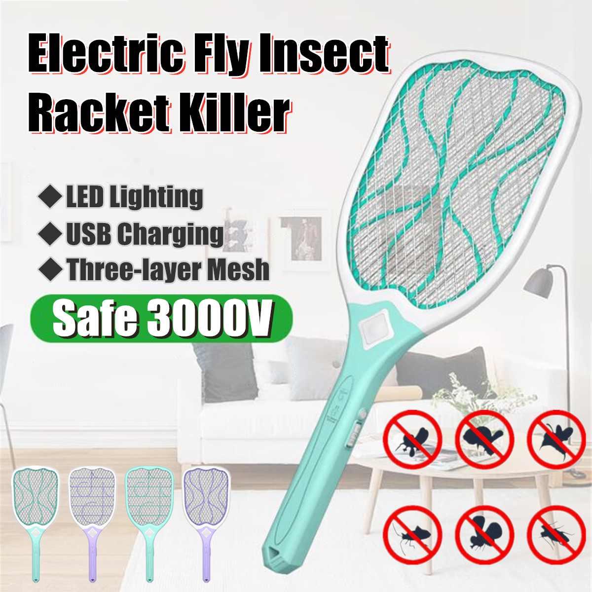 Usb Oplaadbare Elektrische Fly Mosquito Vliegenmepper Muggen Killer Beschermen Menselijk Bug Zapper Handheld Racket Insecten Killer Met Led