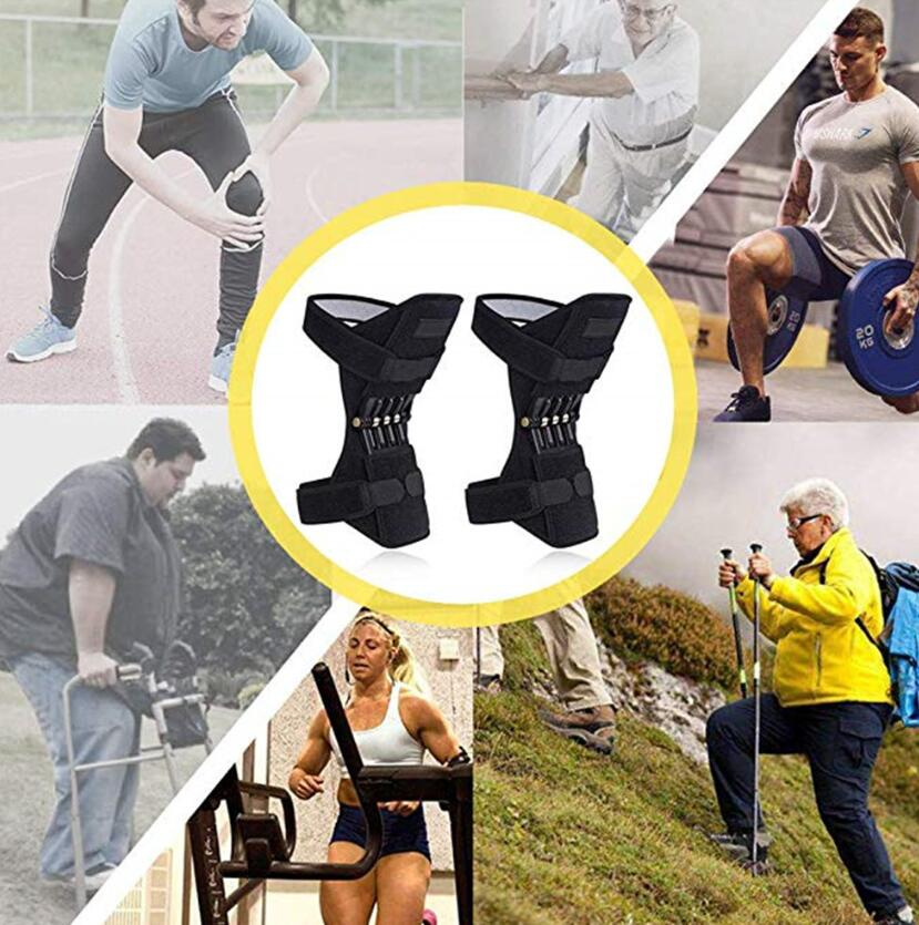 1 Pair Joint Support Knee Pads Breathable Non-slip Lift Pain Relief Power Knee Pads Powerful Rebound Spring Force Knee Booster