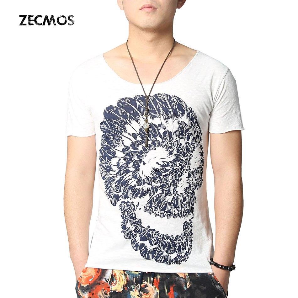Zecmos hip hop skull printed t shirts men fashion mens for Printed t shirts mens fashion