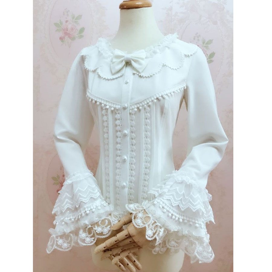 Gorgeous Retro Style Female Lolita White Blouse Sweet Long Bell Sleeve Shirt with Tassels