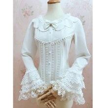Великолепная Ретро стиль Женская Лолита белая блузка сладкий длинный рукав колокол рубашка с кисточками
