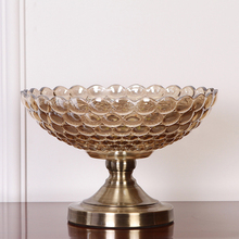 high quality golden plated dried fruit plate snack tray home nut bowl ktv Fruit tray storage Dish Advanced Crystal glass plate original thick plate glass plate glass us microwave dish microwave turntable chassis tray 31 5