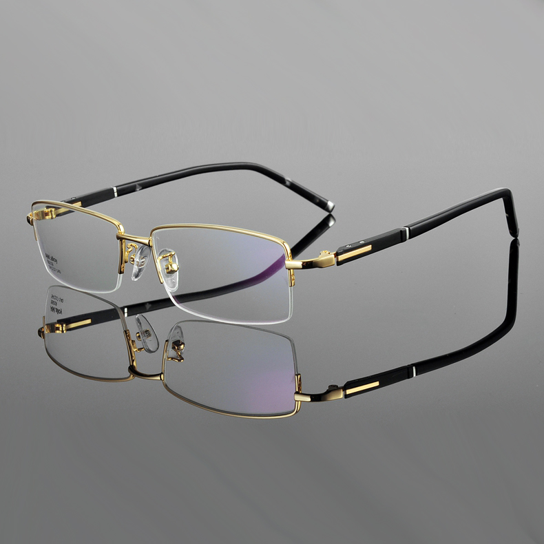 ✓Oro gafas marcos para hombres de negocios medio eyeware vidrios ...