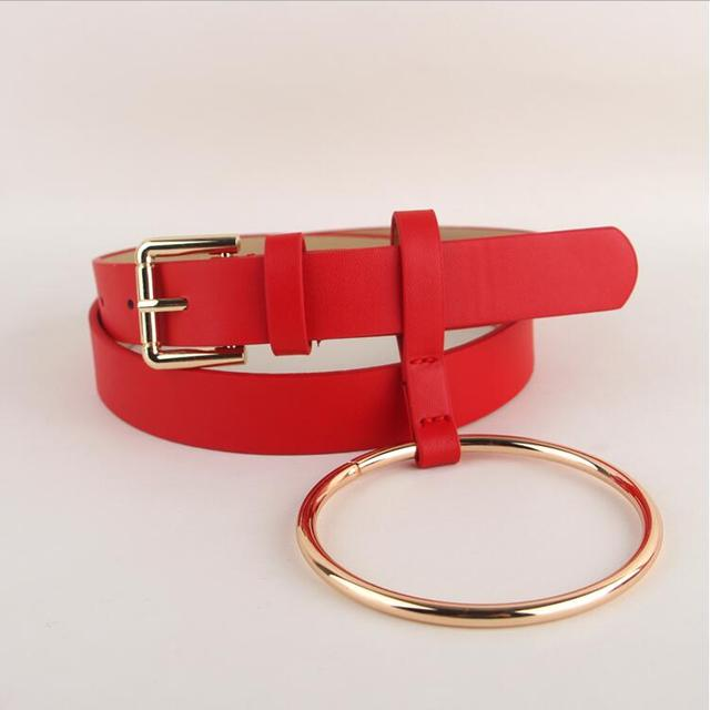 HOT Newest Design Women waist belt Lovely women's big ring decorated belts female fashion gold pin buckle solid PU leather strap 3