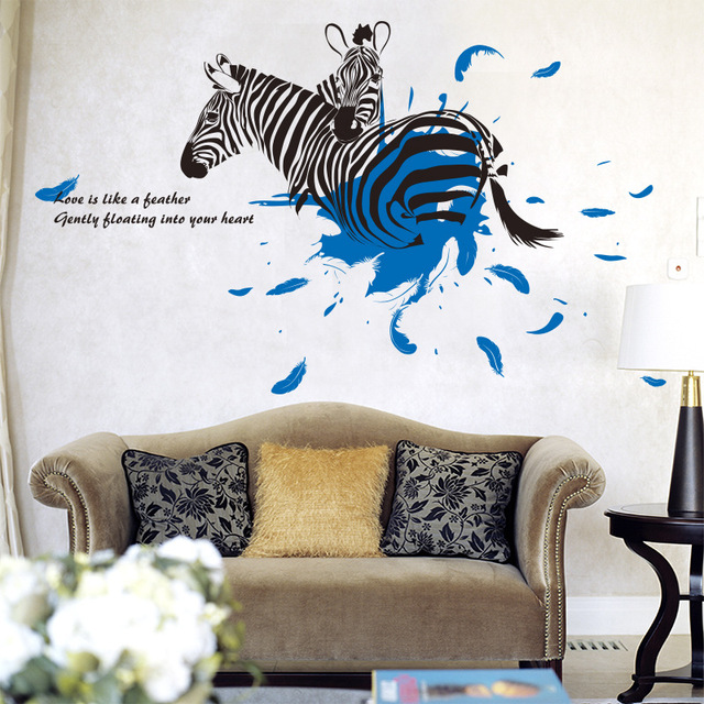 Zebra love creative wall stickers ids rooms decorative adesivo de parede pvc wall decal new arrival