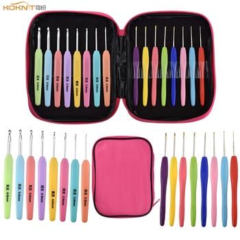 KOKNIT 16 Uds agujas de ganchillo conjunto mezclar tamaños de 1,0mm-6,0mm hilo de tejer ganchos, agujas conjunto de herramientas de manualidades DIY con bolsa