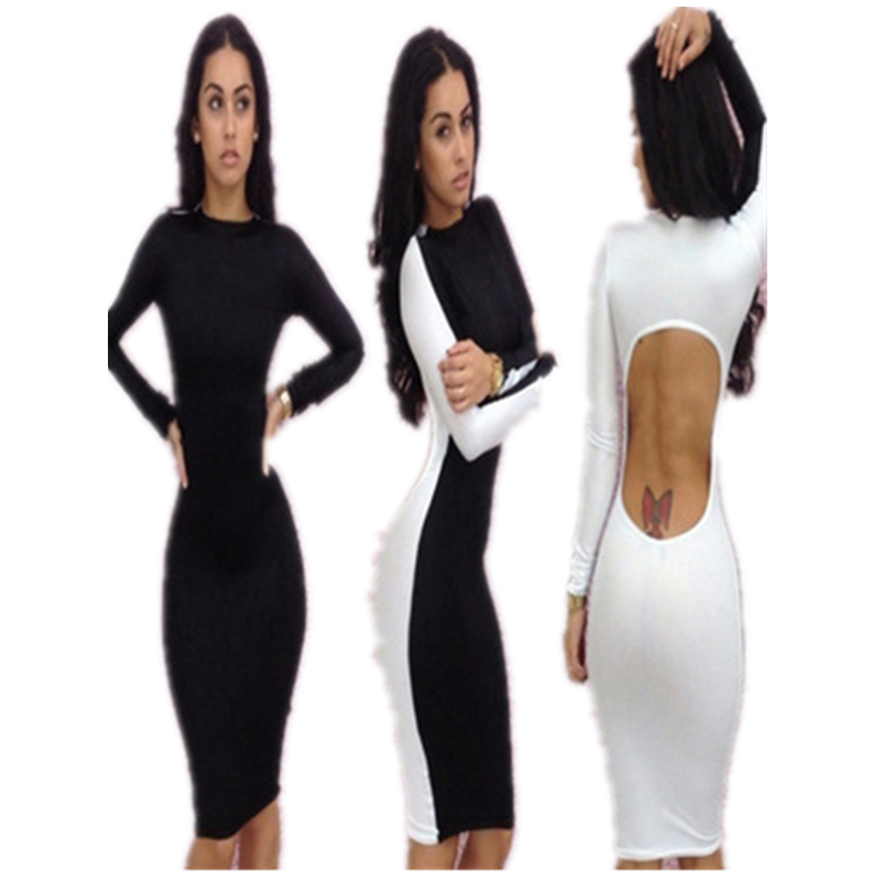 2aee07f9ab 2016 bandaż dress kobiety new fashion dress wiosna z długim rękawem bodycon  casual dress sexy hollow out powrót klub dress