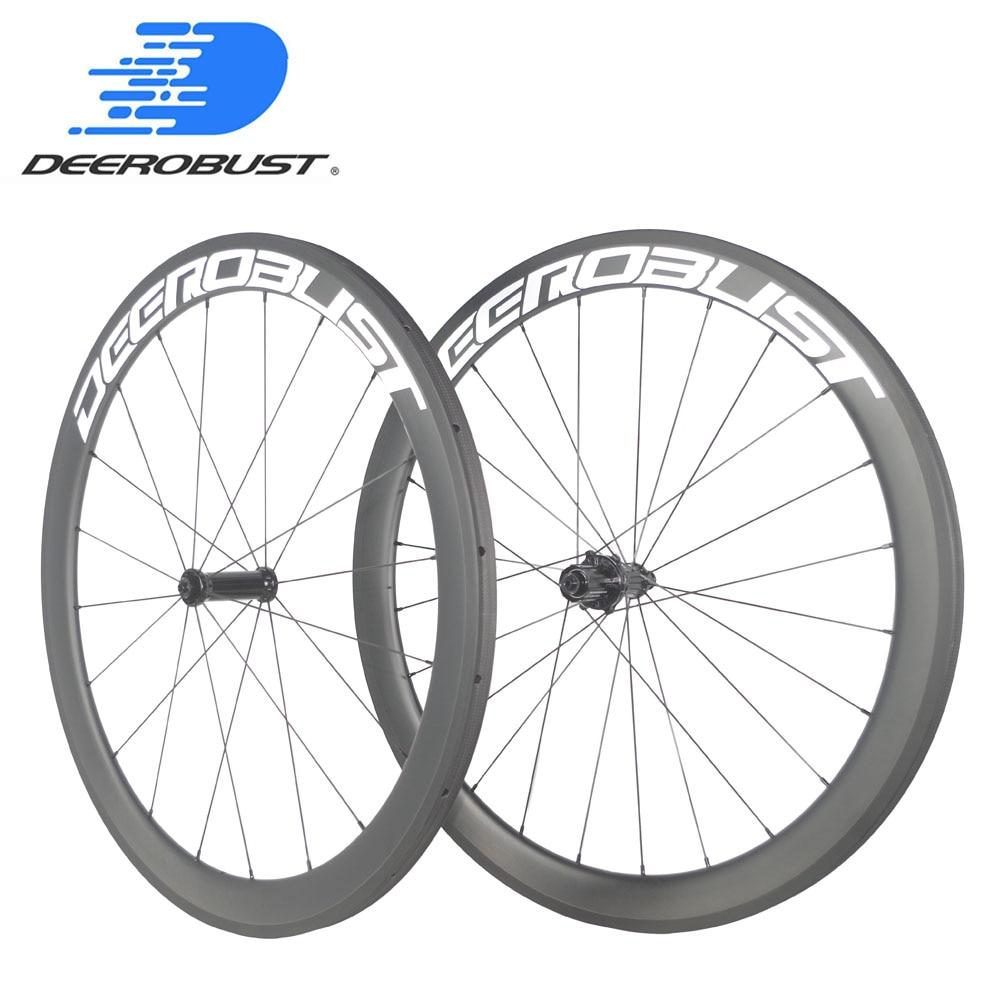 New 700C 50mm Road bike 3K carbon bicycle wheelset clincher rims basalt 24 holes