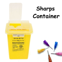Plastic 1L Sharps yellow Containers for Tattoo Artists Newest Tattoo Sharps Container Biohazard Needle Disposal FREE Shipping