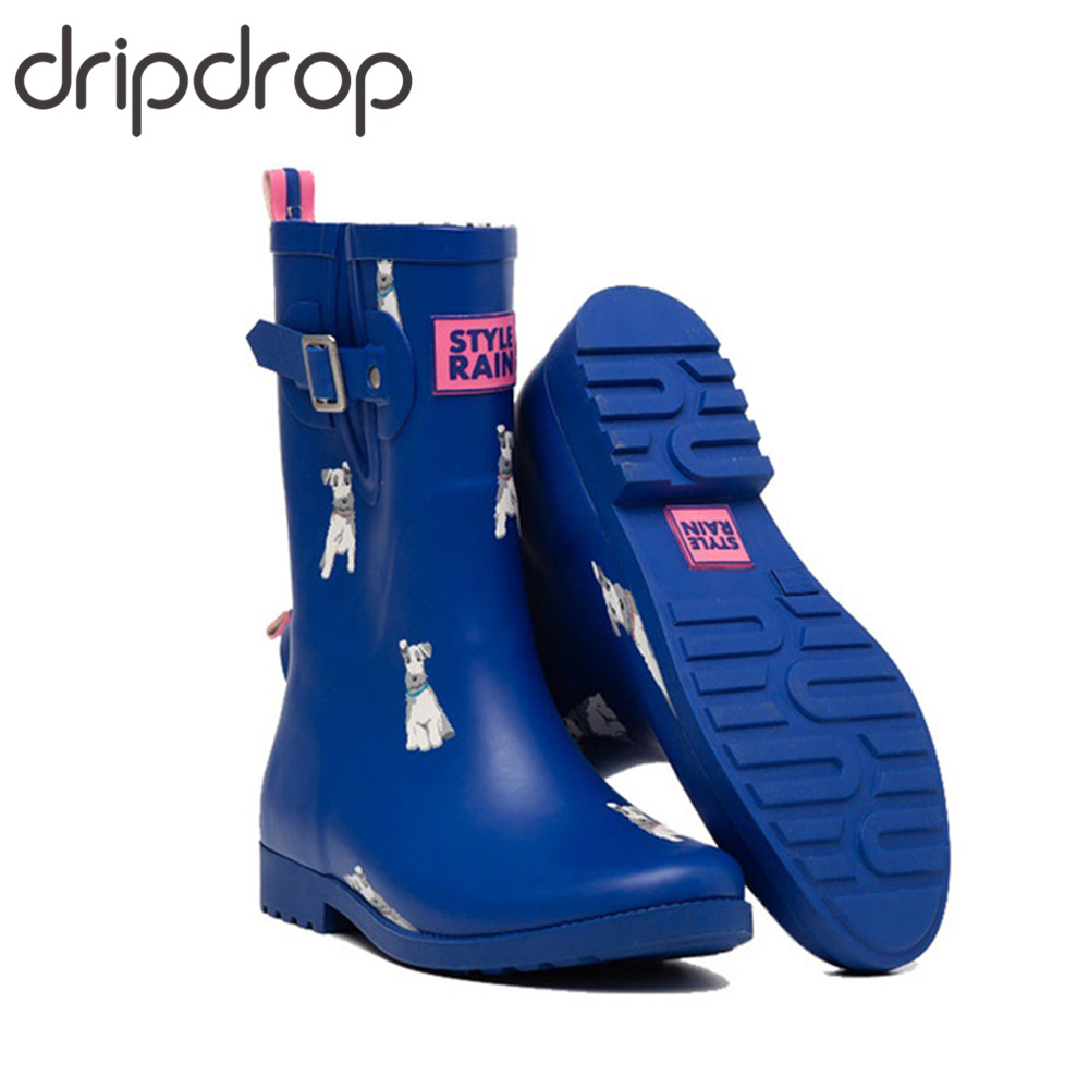 DRIPDROP Handmade Rubber Boots for Women Mid Calf Non Slip Female Waterproof Rain Boots Garden Booties