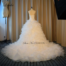 Liyuke Vestido De Noiva Ruched Princess Ball Gown Wedding Dress With Pearls Sequins Strapless Bridal Dress 2017 New Arrival